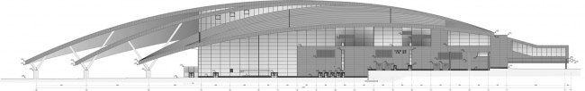 The passenger terminal, elevation on grid. Platov Airport, Rostov-on-Don