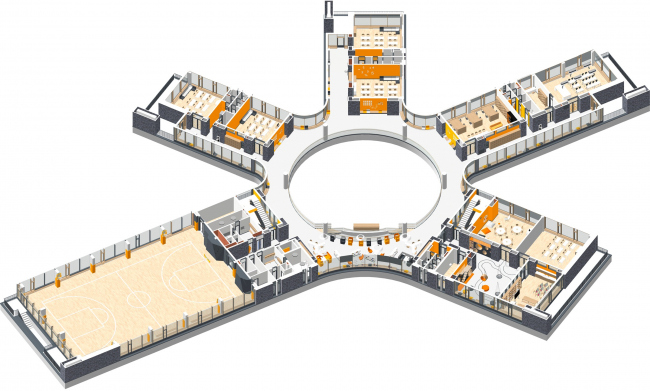 Аксонометрия 2 этаж.  Школа Wunderpark