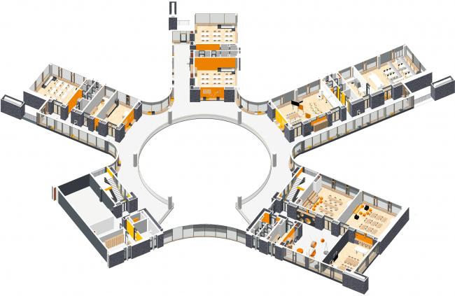 Аксонометрия 3 этаж. Школа Wunderpark