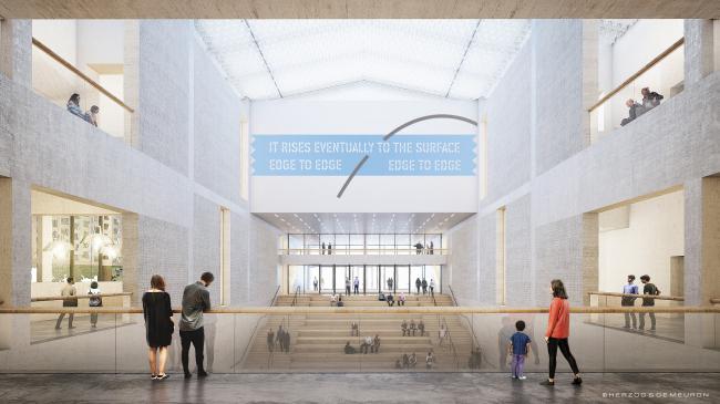 Музей XX века. Вид от «восточно-западного» бульвара на северный вход с лестницей-трибунами