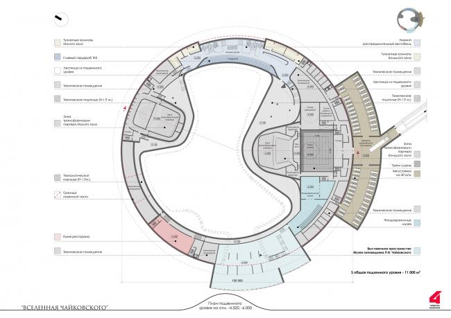 Главный театрально-концертный комплекс Московской области «Вселенная Чайковского». Театрально-концертный комплекс. План подземной части