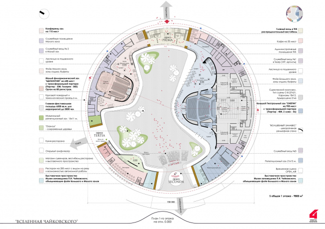 Главный театрально-концертный комплекс Московской области «Вселенная Чайковского». Театрально-концертный комплекс.   План в уровне 1 этажа