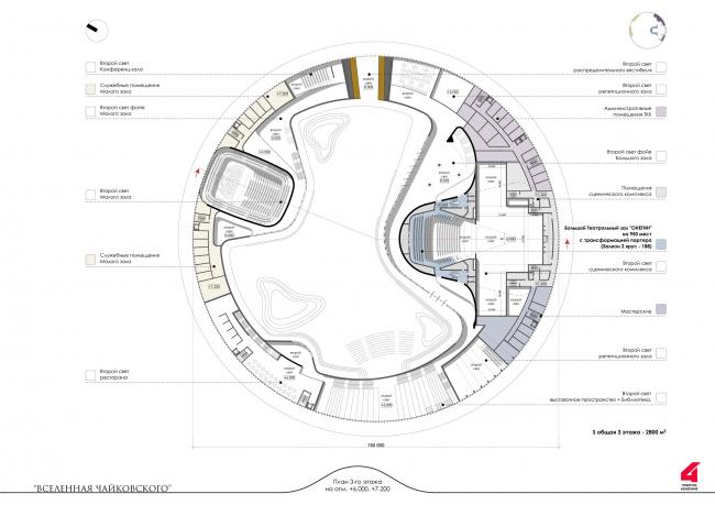 Главный театрально-концертный комплекс Московской области «Вселенная Чайковского». Театрально-концертный комплекс. План в уровне 3 этажа