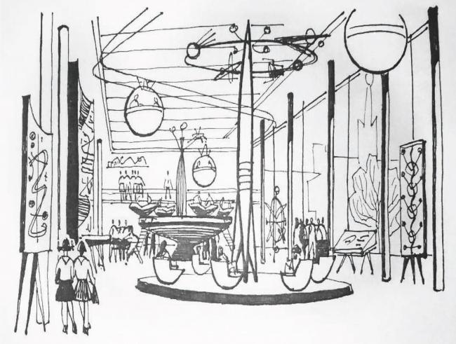 авторский эскиз: «Зал шумных игр». Дворец пионеров на Воробьевых горах. Проект реставрации
