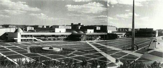 Дворец пионеров на Ленинских горах. Склейка почтовых открыток