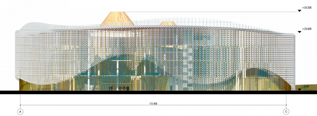 Восточный фасад в осях А-С. Международный центр эпоса евразийских народов