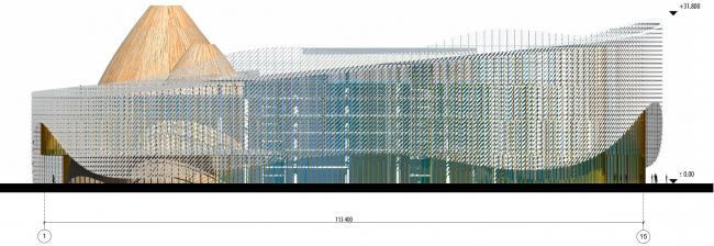 Северный фасад в осях 1-15. Международный центр эпоса евразийских народов