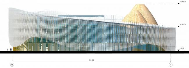 Южный фасад в осях 15-1. Международный центр эпоса евразийских народов