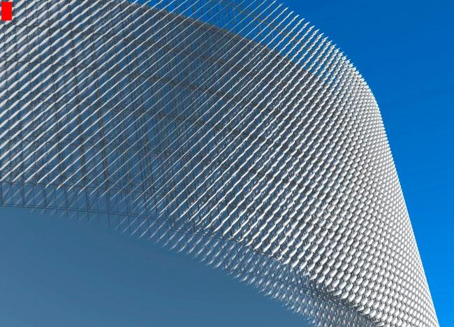 Фрагмент фасада. Перспективный вид. (пространственно стержневая система с прямоугольным модулем). Международный центр эпоса евразийских народов