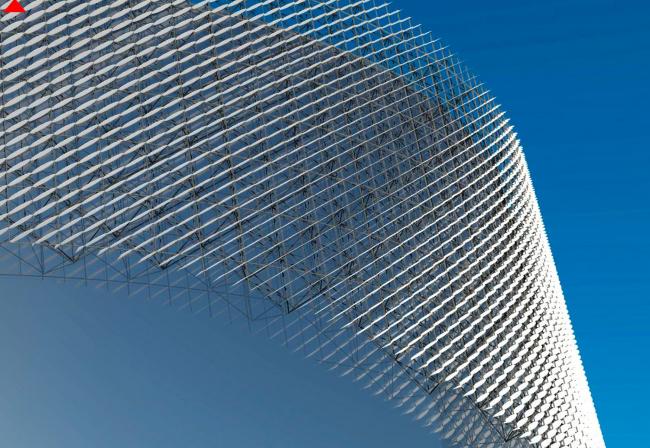 Фрагмент фасада. Перспективный вид. (пространственно стержневая система с треугольным модулем). Международный центр эпоса евразийских народов