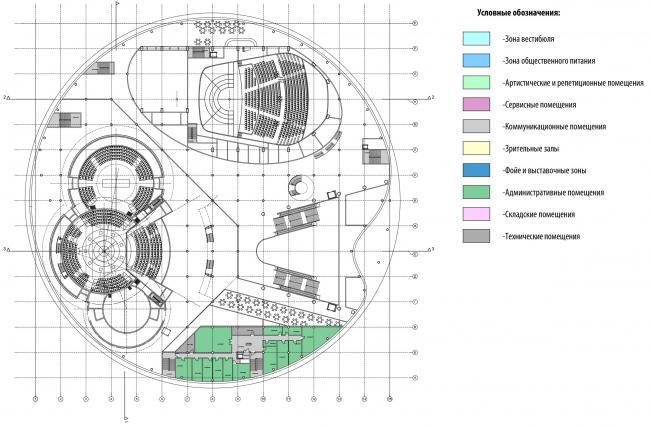 План 4-го этажа на отм. +9.900. Международный центр эпоса евразийских народов