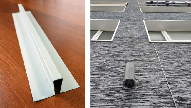 Широкая вертикальная стыковочная планка KMEW для высотной серии панелей Серадир V и пример ее использования (справа)