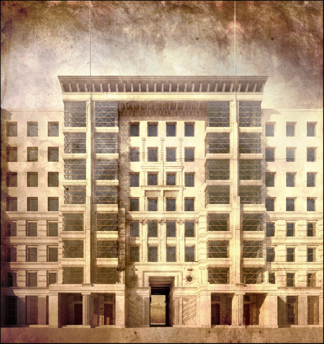 """The concept of facade solutions for a housing project designed within the framework of the project by Atayants Architects, """"Opalikha 03"""". Developer: Urban Group, 2014. Computer simulation. Implemented"""