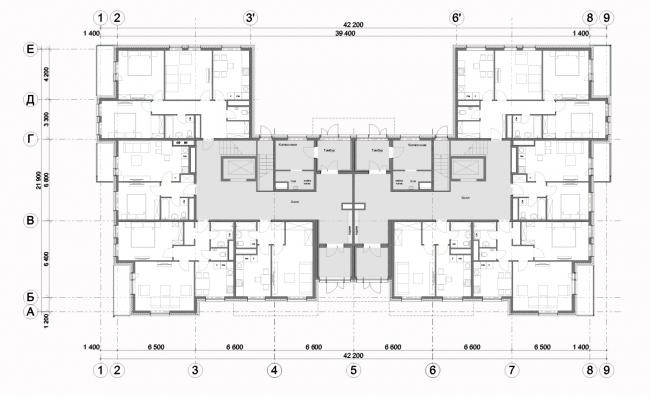 Жилой комплекс «Миниполис Дивное». Архитектурная концепция, тип К, корпус 2,4,6; план 1 этажа