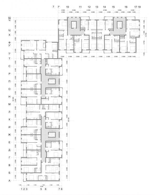 Жилой комплекс «Миниполис Дивное». Архитектурная концепция, тип КК, корпус 14, план типового этажа