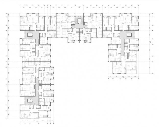 Жилой комплекс «Миниполис Дивное». Архитектурная концепция, корпус 12, план типового этажа