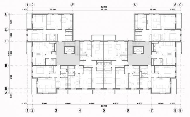 Жилой комплекс «Миниполис Дивное». Архитектурная концепция, тип К, корпус 2,4,6; план типового этажа