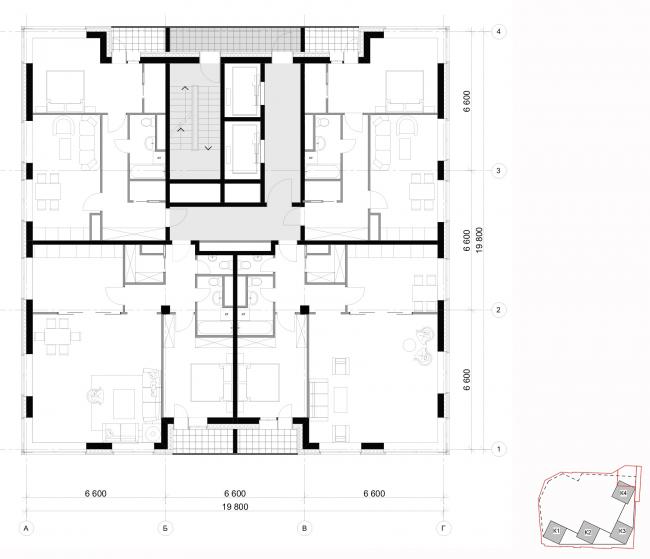 Архитектурная концепция, план типового этажа, тип1. Жилой комплекс бизнес-класса «Маринист»