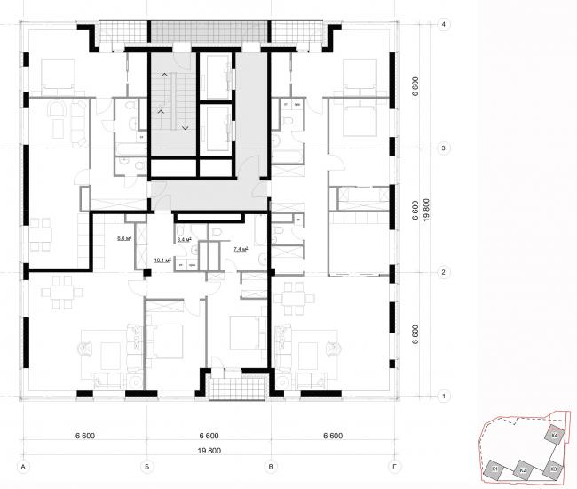 Архитектурная концепция, план типового этажа, тип2. Жилой комплекс бизнес-класса «Маринист»