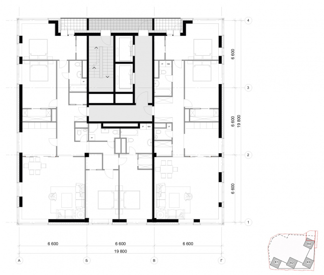 Архитектурная концепция, план типового этажа, тип4. Жилой комплекс бизнес-класса «Маринист»