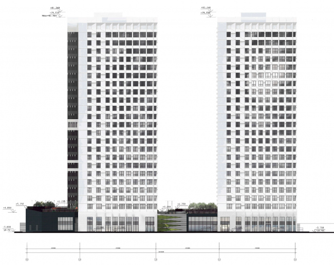 Схема фасада в осях П.Э-1А. ЖК «31 квартал»