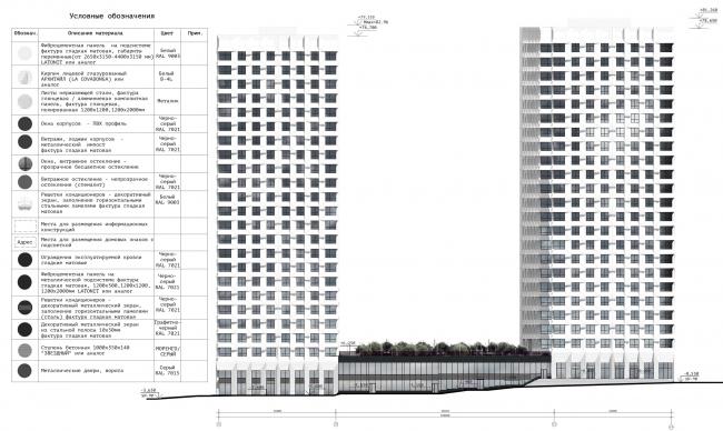 Схема фасада в осях 1.1-4.9 ЖК «31 квартал»