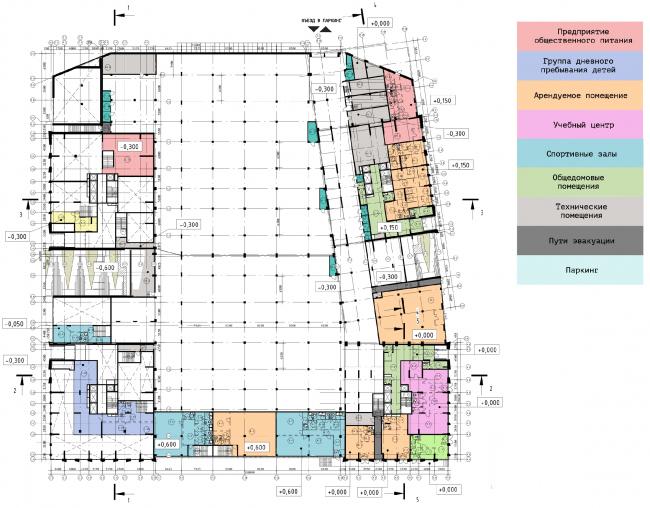 Схема плана этажа на отметке -0.300 ЖК «31 квартал»