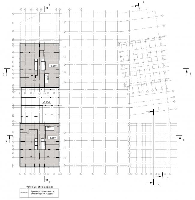 Схема плана техподполья на отметке -5.650 ЖК «31 квартал»