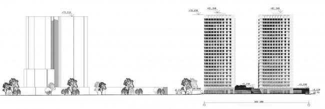 Схема развертки фасада по Ярославскому шоссе. ЖК «31 квартал»