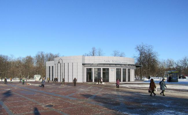 Перспектива вариант №1. Реконструкции наземного вестибюля станции метрополитена «Парк Победы»
