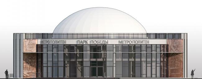 Фасад вариант №3. Реконструкции наземного вестибюля станции метрополитена «Парк Победы»