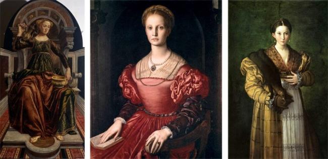 "Left to right: ""Allegory of Temperance"", Pierrot del Pollaiuolo, 1470; ""The portrait of Lucrezia Panciatichi"", Agnolo Bronzino, 1545; ""Antea"" Francesco Parmigianino 1524-1527"