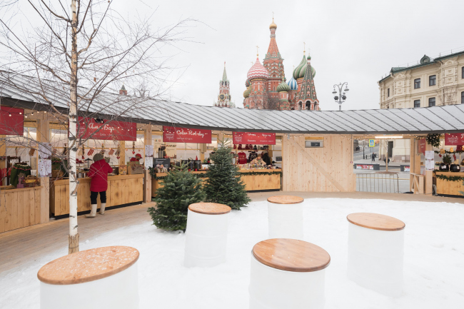 Вид внутреннего дворика. Павильон Снегосад в Зарядье