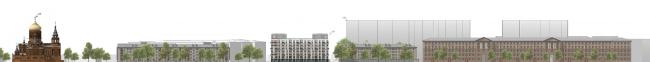Development drawing on the Dvinskaya Street. Facade 2. Housing project on the Dvinskaya Street