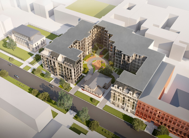 """The birds-eye view from the south. """"Amo"""" residential complex"""