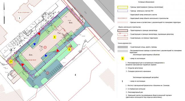 Схема планируемого местоположения объекта на земельном участке. Жилой дом на проспекте Тореза