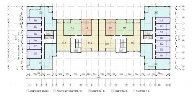 План типового 2-6 этажа. Жилой дом на проспекте Тореза