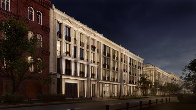 Жилой комплекс «Маленькая Франция». Общий ночной вид фасада по 20-й лини с севера