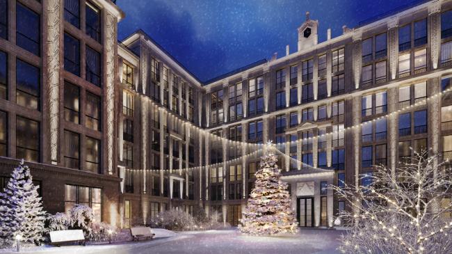 Жилой комплекс «Маленькая Франция». Общий ночной вид на сour d′honneur с юга в зимнее время года