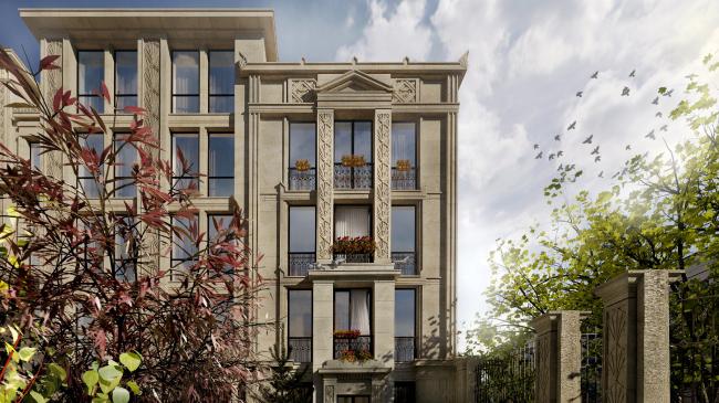 Жилой комплекс «Маленькая Франция». Вид из двора в сторону улицы с севера