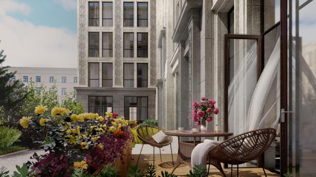 Жилой комплекс «Маленькая Франция». Фрагмент дворовой части, вид на выход из двухэтажной квартиры и палисадник при ней