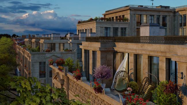 Жилой комплекс «Маленькая Франция». Вид на террасу уличного фасада с южной стороны