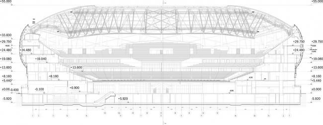 Реконструкция стадиона «Динамо». ВТБ Арена Парк. Поперечный разрез