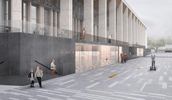 Вид с Новой площади. Проект реконструкции Московского Дворца Молодежи 2020 г.