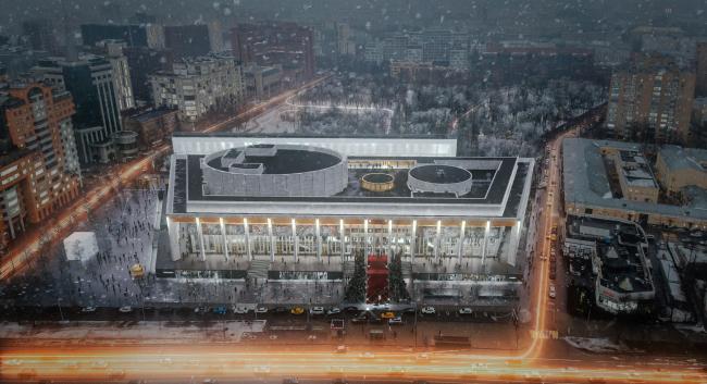 Вид с верху с Комсомольского проспекта. Проект реконструкции Московского Дворца Молодежи 2020 г.