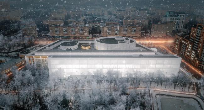 Вид с верху с парка.Проект реконструкции Московского Дворца Молодежи 2020 г.