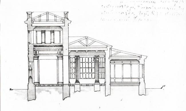 Проект постройки павильона для Ботанической выставки (позднее – здание Бактриологической станции В. К. Феррейна). Разрез, 1 этаж, 1892г.