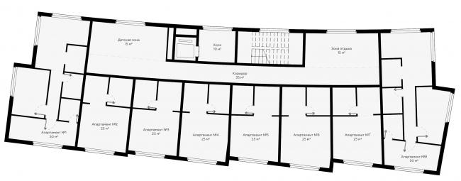 План типового этажа, апартаменты. Концепция эко-отеля «Волна»