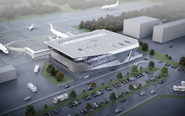 Пассажирский терминал аэропорта в Кемерово. Вид сверху