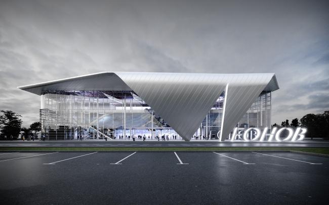 Passenger terminal of the Kemerovo Airport. The main facade.